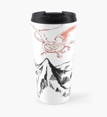 Red Dragon Above A Single Solitary Peak - Fan Art Travel Mug
