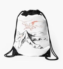 Red Dragon Above A Single Solitary Peak - Fan Art Drawstring Bag