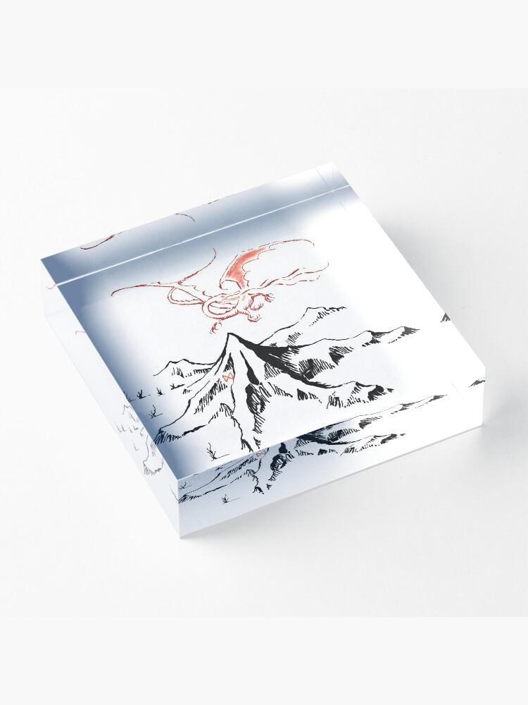 Alternate view of Red Dragon Above A Single Solitary Peak - Fan Art Acrylic Block