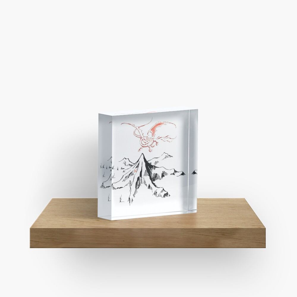 Red Dragon Above A Single Solitary Peak - Fan Art Acrylic Block