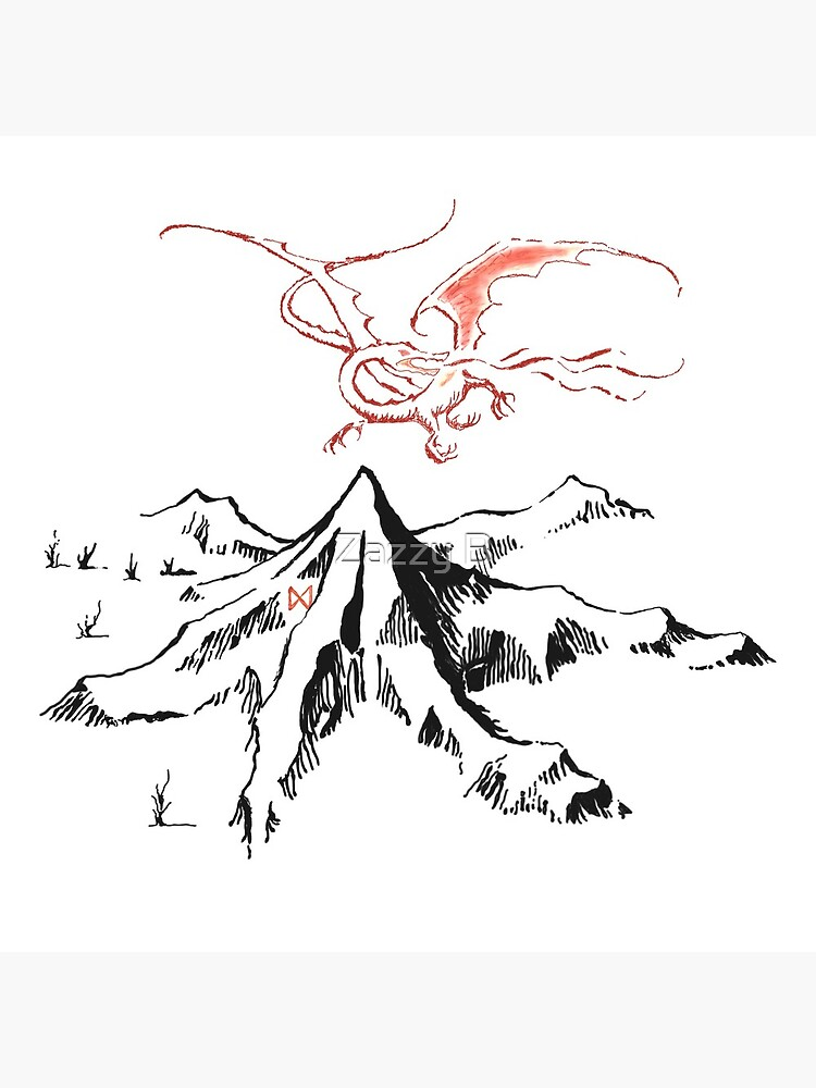 Red Dragon Above A Single Solitary Peak - Fan Art by boberttrelfa