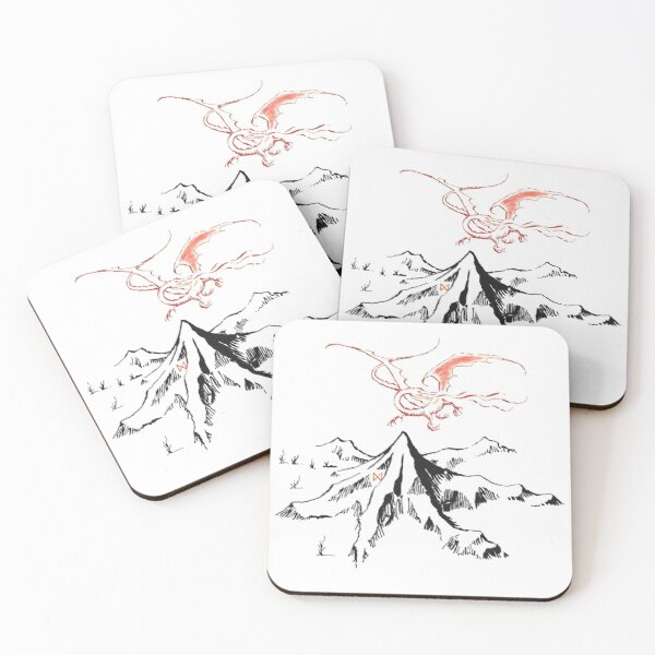 Red Dragon Above A Single Solitary Peak - Fan Art Coasters (Set of 4)