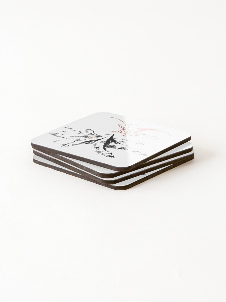 Alternate view of Red Dragon Above A Single Solitary Peak - Fan Art Coasters (Set of 4)