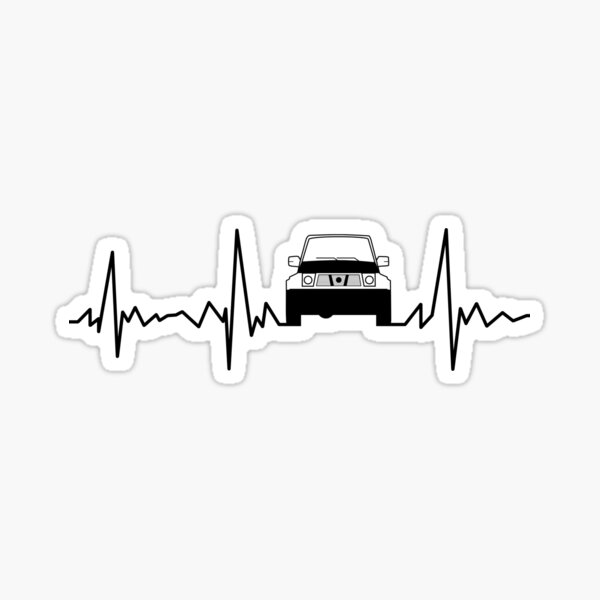 Four by four off-road car cruiser heartbeat Sticker