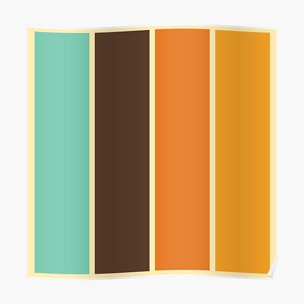 1970's Color Palette Retro Stripe Pattern Poster