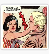 Make me a sandwich black brunette hair girl retro kitsch vintage comic Sticker