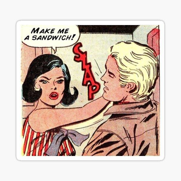 Faire moi un sandwich noir brune cheveux fille rétro kitsch vintage bande dessinée Sticker
