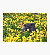Legs in spring in a field of daffodils Photographic Print