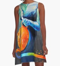 Heal with Rainbow Tea (self portrait) A-Line Dress