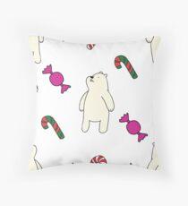 Teddie cute on white Throw Pillow