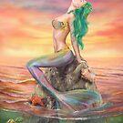 Meerjungfrau bei Sonnenuntergang von Alena Lazareva