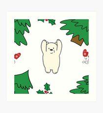 Cutie xmas teddy white  Art Print