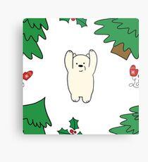 Cutie xmas teddy white  Metal Print