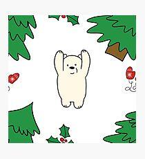 Cutie xmas teddy white  Photographic Print