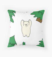 Cutie xmas teddy white  Throw Pillow