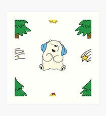 Cute white teddie on Snow Art Print