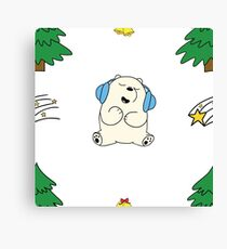 Cute white teddie on Snow Canvas Print