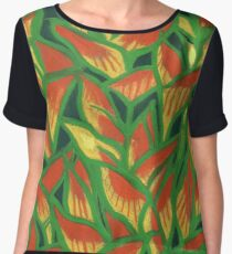 Lobster Claw / Heliconia Rostrata, tropic flowers, green, yellow & orange Chiffon Top