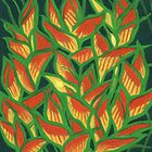 Lobster Claw / Heliconia Rostrata, tropic flowers, green, yellow & orange by clipsocallipso