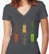 Spark Plugs Traffic Light Colours Women's Fitted V-Neck T-Shirt