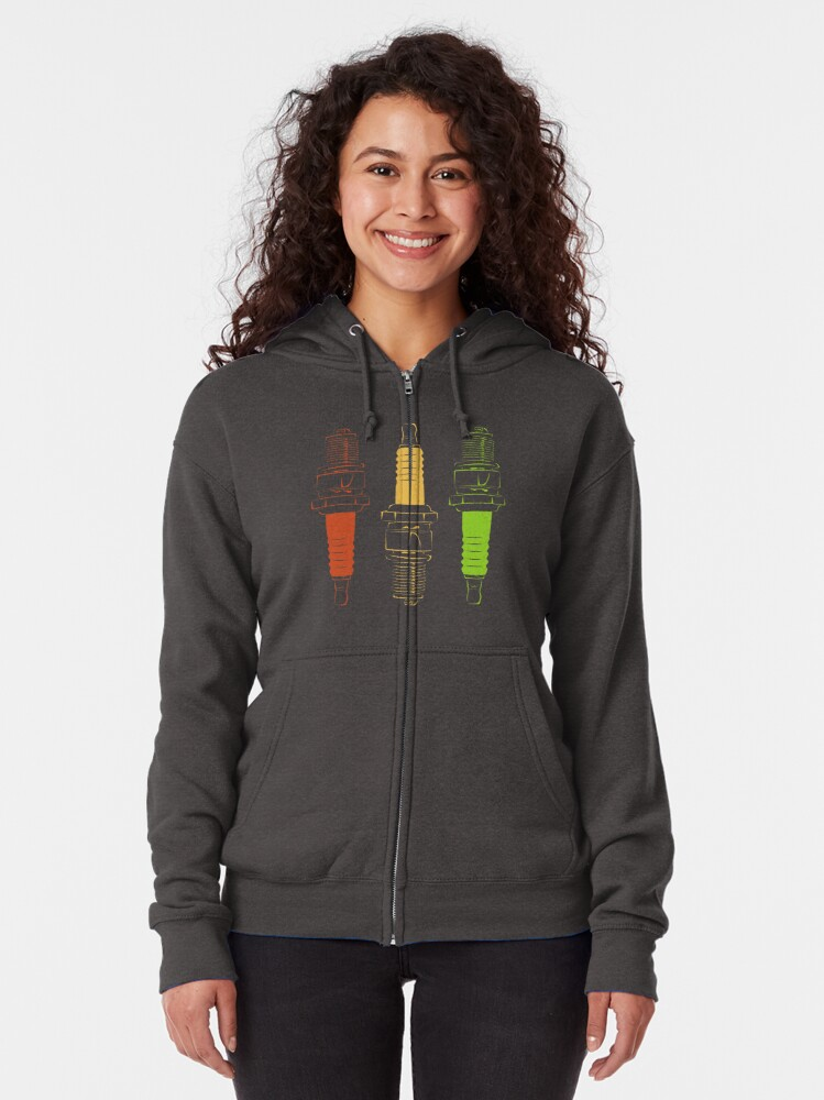 Alternate view of Spark Plugs Traffic Light Colours Zipped Hoodie
