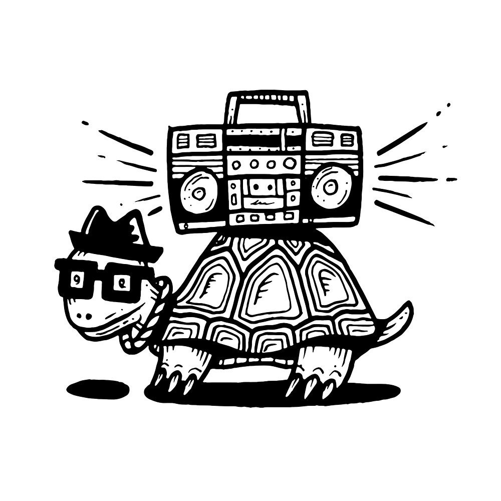 Boombox Turtle by Kevin Tudball