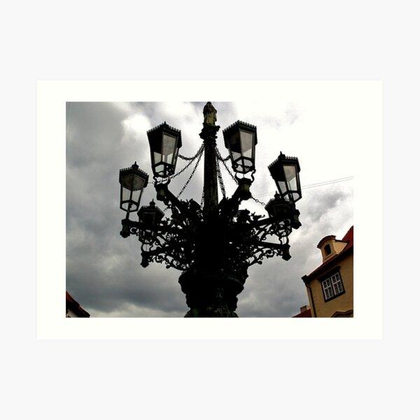 Street lights at a junction (Prague) Art Print