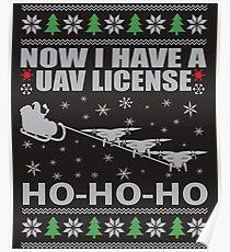 Geeky Santa Riding Drones Poster