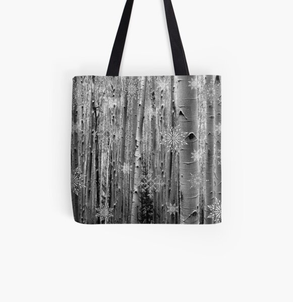 Aspens in the Snow All Over Print Tote Bag