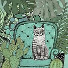 Cat in the house plants by Bronia Sawyer