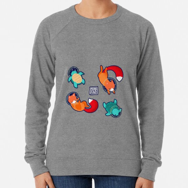 Space Animals Sticker Set 1 Lightweight Sweatshirt