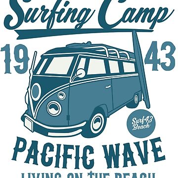 Surfing Camp 1943 Pacific Wave T-shirt by webeller