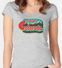 Colorful Colorado Vintage Travel Decal Women's Fitted Scoop T-Shirt