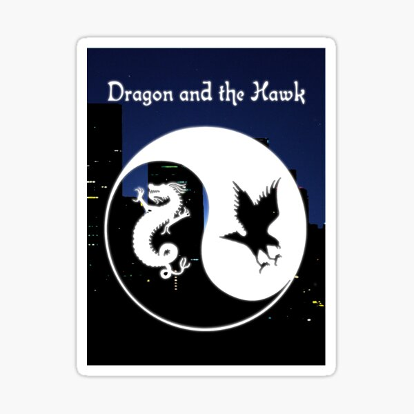 Dragon and the Hawk Cityscape Sticker