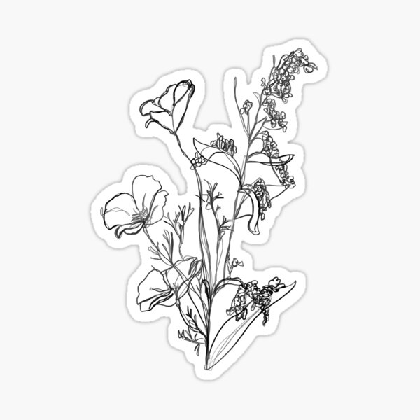Continuous Line Drawing - Assortment of Flowers Sticker