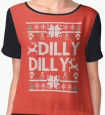 dilly dilly a true friend of the crown bud light  christmas sweater ugly sweatshirt  Women's Chiffon Top