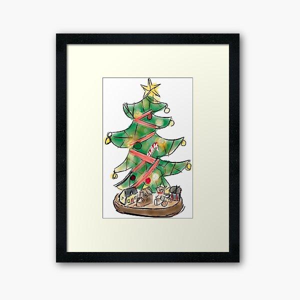 Christmas Tree with Toys Framed Art Print