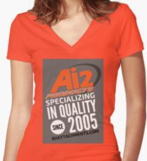 Specializing Quality Grey Women's Fitted V-Neck T-Shirt