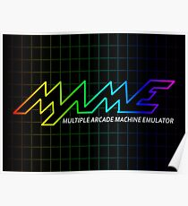 MAME Multiple Arcade Machine Emulator Multicolor Grid Logo Poster