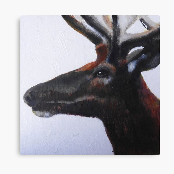 "Wapiti #6, acrylic on wood panel, 10x10"", 2017 Canvas Print"