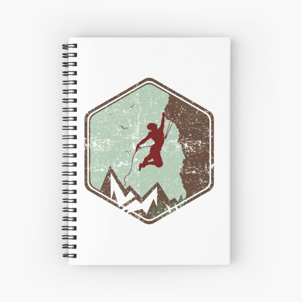 Vintage Rock Climbing Badge Logo Spiral Notebook