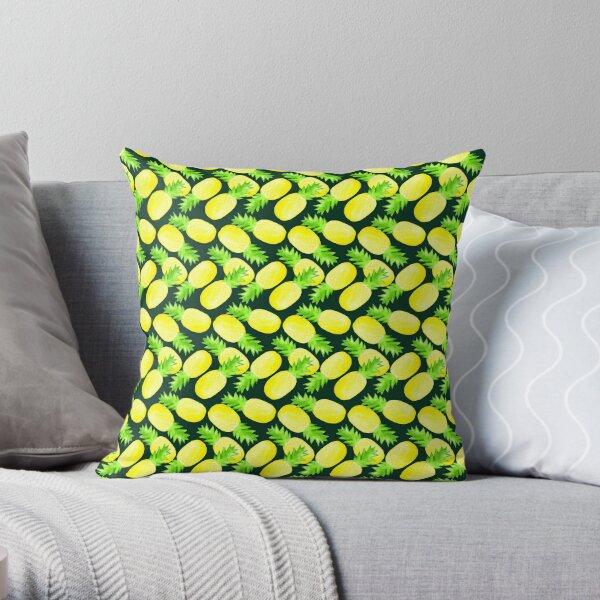 Pineapples - Dark Green Throw Pillow