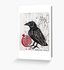 Raven and Pomegranate  Greeting Card