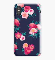 Peony flowers on navy iPhone Case