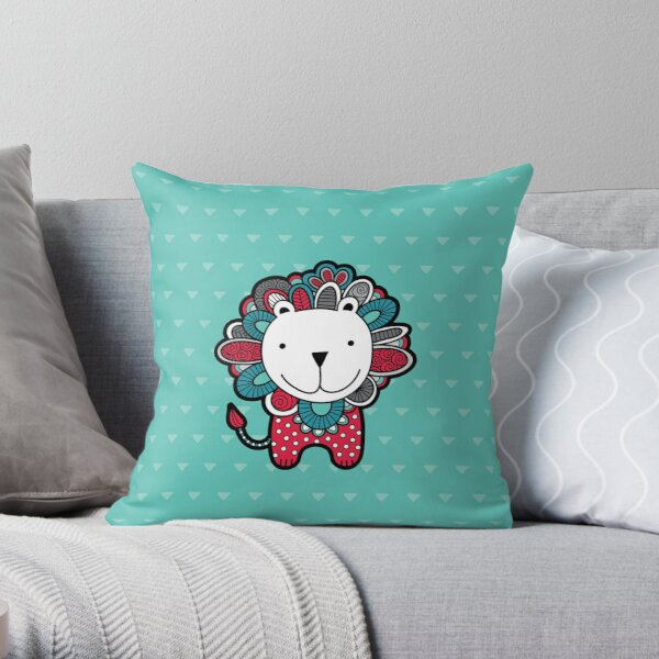 Doodle Lion Red, Green & Grey Throw Pillow