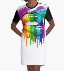 proud Rainbow Lips Pride Graphic T-Shirt Dress