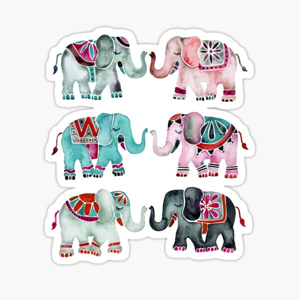 Elephant Collection – Turquoise & Coral Palette Sticker