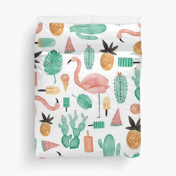 Pink flamingo, green cactus and yellow pineapple Duvet Cover