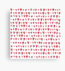 Watercolor pattern with bright pink hearts Canvas Print