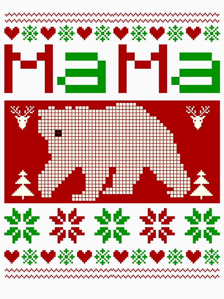 Womens Mama Bear oh ugly sweater christmas pattern  by bestdesign4u